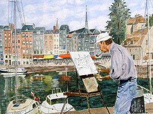 Français : Honfleur, le peintre du vieux port....